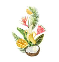 Watercolor composition green tropical vector