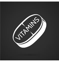 White icon for vitamins tablet vector image