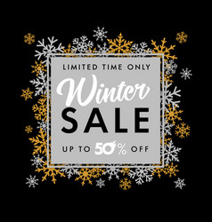 Winter sale limited time snowflake banner black vector