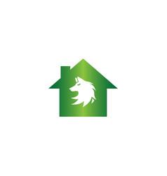 wolf head logo fox face design in a home shape vector image