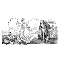 womens suffrage cartoon - housecleaning vintage vector image