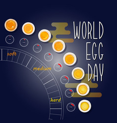 World egg day card how to make boiled eggs vector