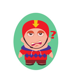 Worried questioning funny avatar of little person vector