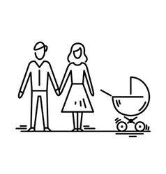Young family parents with stroller mother father vector