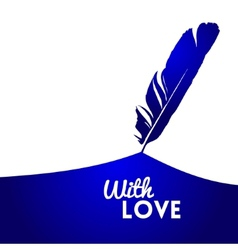 Background with blue feather vector image vector image