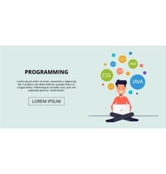Banner for the site study programming Happy young vector image