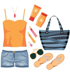 Fashionset of summer clothes vector image vector image