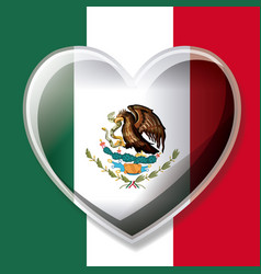 mexican flag colorful silhouette with 3d heart vector image