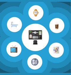 flat icon oneday set of cappuccino timer watch vector image vector image
