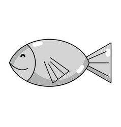 Line fresh fish animal to preparation meal vector