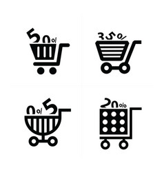 shopping cart icons and discount vector image vector image