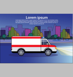 ambulance emergency car on road at night medical vector image