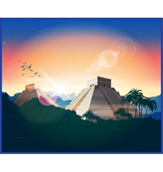 ancient Mayan pyramids vector image vector image