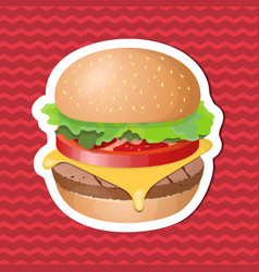 burger sticker on red striped background graphic vector image vector image