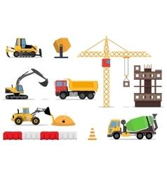 Construction site building a house - flat vector image
