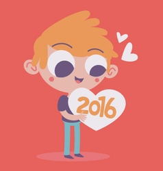Cute boy hugging the upcoming new year 2016 vector
