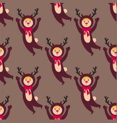 Cute deer kids wearing christmas costumes vector