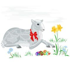 Easter lamb and daffodil vector image