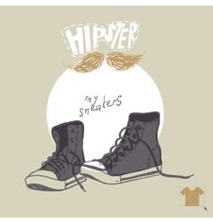 Hand Drawn Pair Of Sneakers vector image