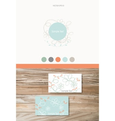 Modern Business card Design Template with flowers vector image vector image