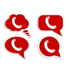 Phone on red word bubble speech vector image vector image