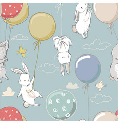 seamless pattern with cute little hares vector image