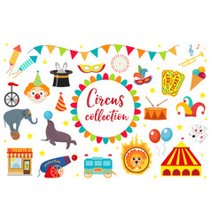 circus collection flat cartoon style set vector image vector image