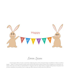 easter bunnies with a garland of flags vector image vector image