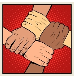 Handshake people of different nationalities and vector