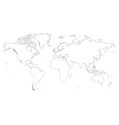 high detailed outline of world map simple thin vector image vector image