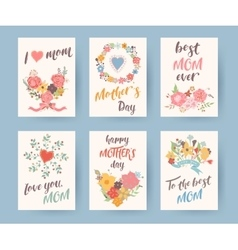 Set of vintage mothers day greeting card Mothers vector image