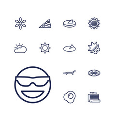 13 sunny icons vector