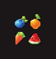 8 bit pixel art icons vector image