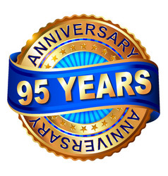 95 years anniversary golden label with ribbon vector image