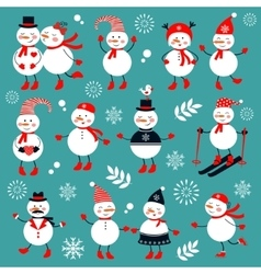 A cute snowmen collection vector