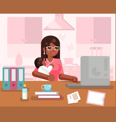 Afro american working mother woman with child home vector