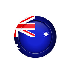 australian flag on the round button vector image