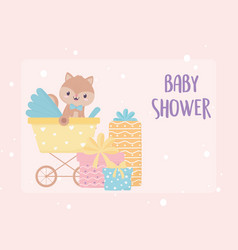 bashower squirrel in with gift boxes card vector image