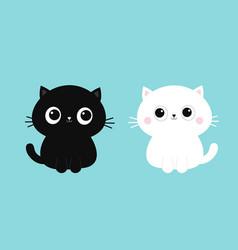black white cat kitten kitty icon set cute kawaii vector image