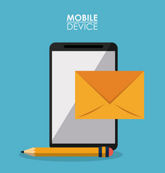 blue poster mobile device with smartphone and mail vector image