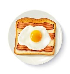 Breakfast sandwich top view realistic image vector