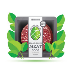Burger patties from plant based meat in package vector