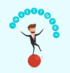 Businessman balancing on sphere and juggling vector