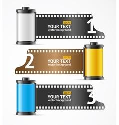 Camera film roll cartridge banner card vector