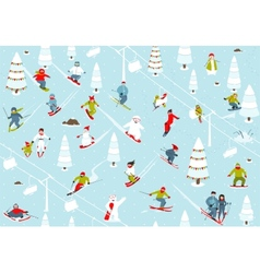 Cartoon Mountain Ski Resort Seamless Pattern vector image