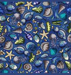 cartoon under water life seamless pattern vector image