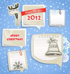 Christmas greeting paper bubbles vector image