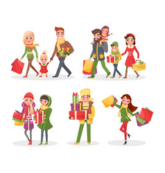 christmas holiday shopping family and friends vector image