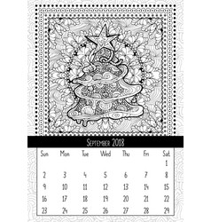 Christmas tree doodle pattern calendar september vector