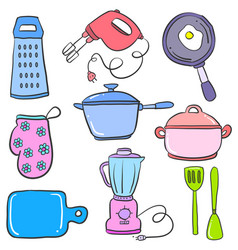 Collection of object kitchen set vector